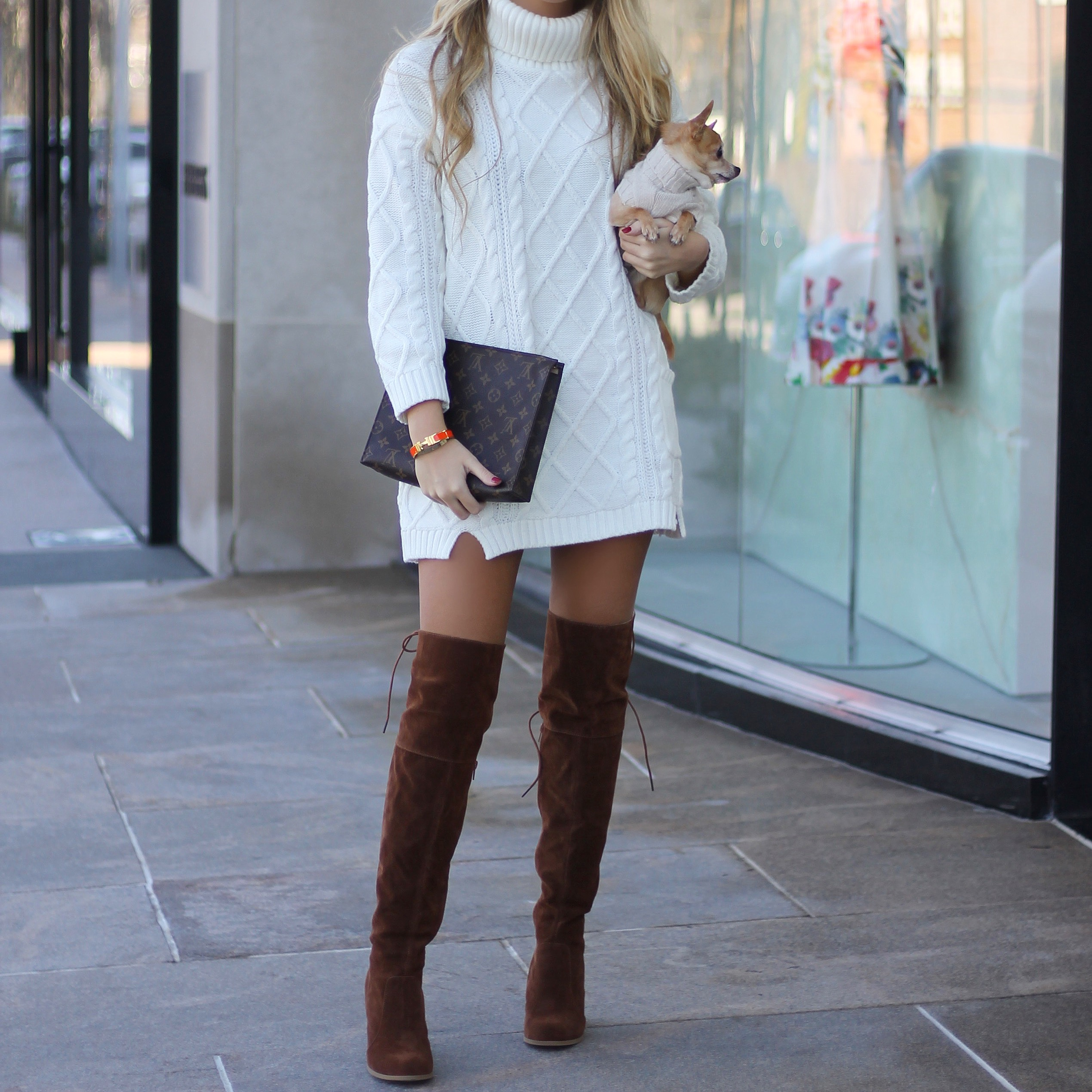 Sweater Dress Over The Knee Boots Style It With Trix Fashion Trend